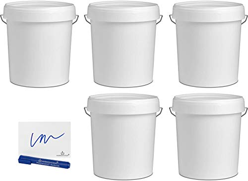 MARKESYSTEM - Cubo VACIO INDUSTRIAL Pack de 5 x 17,9 litros - Contenedores Hermeticos de Plástico con Tapa - Almacenaje de Sólidos, Líquidos y Pinturas - Polipropileno Blanco + Kit Etiquetado