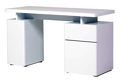 Amazon Marke -Movian Sava - Schreibtisch mit 1 Schublade und 2 Türen, 140x55x76cm, Hochglanz Weiß