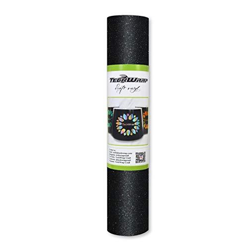 TECKWRAP Shimmer Vinyl Glitter Adhesive Craft Vinyl,1ftx5ft,Knight Black