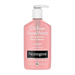 Neutrogena Oil-Free  Face Wash Pink Grapefruit Pore Cleansing Acne Wash and Facial Cleanser.   With naturally derived grapefruit, vitamin C and 2-hydroxybenzoic acid , our oil-free face wash starts working against acne instantly to clear breakouts and even the marks they leave behind.
