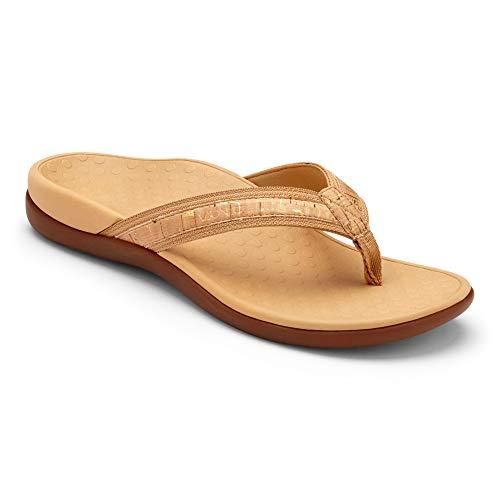 Vionic Womens Islander Synthetic Gold Cork Sandals 7 US