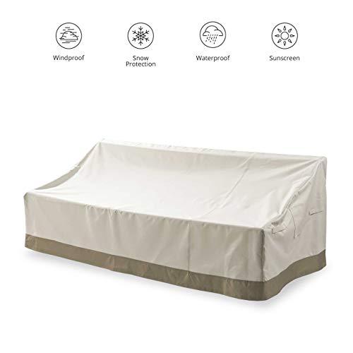 Lumaland Abdeckung für 3-Sitzer-Sofa Gartenbank 84 x 204,5 x 74 cm robuste Schutzhülle für Gartenmöbel Oxford 600D 280 g/m² Wasserdicht Witterungsbeständig Winterfest in Beige