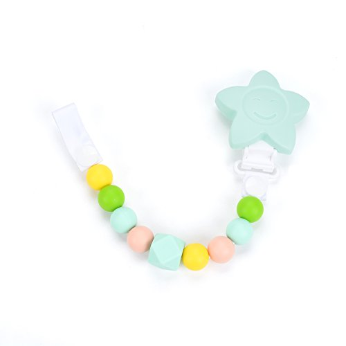Organische dummy clip fopspeenkettinghouder 2 in 1 - antibacteriële siliconen kralen met unieke vormen - fopspeen bijtbaar - ECO-vriendelijk, hypoallergeen - BPA-vrij - baby pasgeboren douchegift