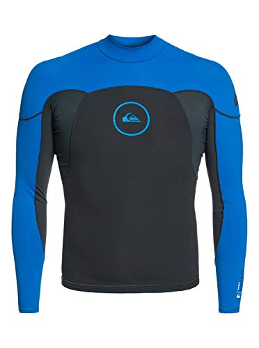 Quiksilver 1m Synchro Top NEOS L/SL Jacket, Hombre, Graphite/Black/Deep Cyanine, S
