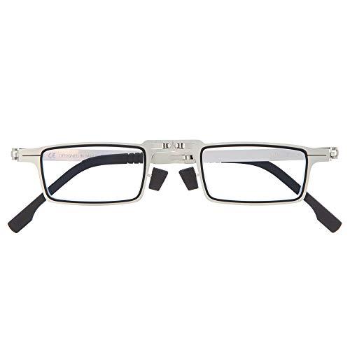 DIDINSKY Gafas de Lectura Plegables Graduadas para Hombre y Mujer. Gafas de Presbicia con Montura Metálica y Lentes con Protección Luz Azul. Graphite +3.0 - MET SQUARE