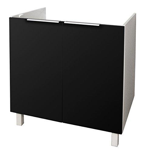Berlioz Creations CE8BNM Meuble Bas de Cuisine sous-Evier Noir Super Mat 80 x 52 x 83 cm