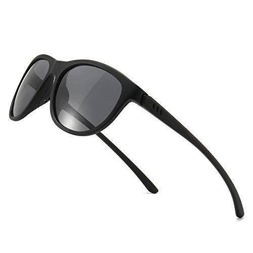 SUNGAIT Ligeras y Irrompibles Gafas de Sol con Lentes Polarizadas Gafas de UV-protección Vendimias(Lente Gris Polarizada/Marco Negro (Acabado Mate))