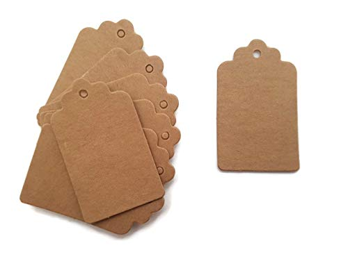 Mini 100 Pcs 5 * 3cm Scallop Kraft Paper Tag Gift Name Cards Price Label Card Tag for Wedding Party