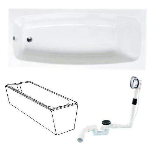 Acryl Körperform-Badewanne 170 x 75 cm mit Träger und Ablaufgarnitur