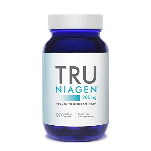 TRU NIAGEN Nicotinamide Riboside Chloride - Patented 300mg NAD+ Booster for Reduction of Tiredness & Fatigue, 300mg Vegetarian Capsules, 300mg Per Serving (90 Day (1 Bottle)