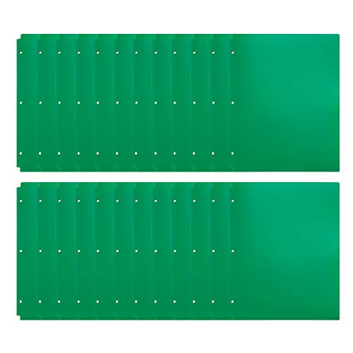 Comix Pocket Folder,2 Pocket Letter Size Poly File Portfolio Folder with 3-Hole Punch - 24 Pack (A2140) (Green)