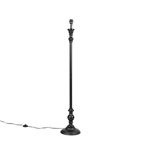 QAZQA Clásico/Antiguo Lámpara de pie clásica negra sin pantalla - CLASSICO Madera/Acero Redonda/Alargada Adecuado para LED Max. 1 x 40 Watt