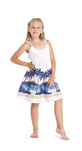 Girl Hawaiian Classic Empire Dress with Elastic Strap in Diamond Head Palms Beach in White Size 6