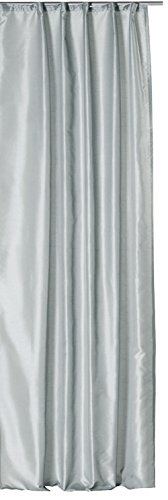 Haus & Deko Übergardine Vorhang Dekoschal Wildseiden Optik halbtransparent ca. 140x245 cm mit Kräuselband Gardine Moderne Unifarben #1136 Silber