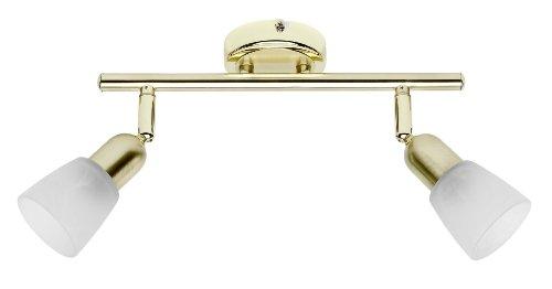 Brilliant 55313/18 - Sistema di faretti'Sofia' a 2 luci, in ottone/alabastro
