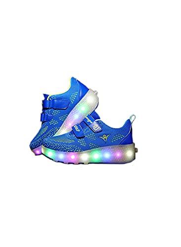 AMYMGLL Niños para Adultos LED Flashing Skateboard Sneakers Malla Transpirable,Blue B-39