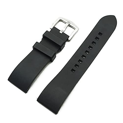 Correa Reloj Correa de Reloj de Goma 20mm 22mm 24mm Pulsera Barra de liberación rápida Barra de Reloj Correas para Relojes (Band Color : Black Silver)