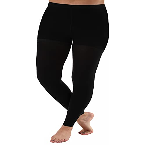 ABSOLUTE SUPPORT 5XL Plus Sized Compression Leggings for Women 20-30mmHg - Graduated Medical Support Stockings Control Top - 1 Pair - for Edema, Varicose Veins & Thigh Support A717BL8 Black, Size XX