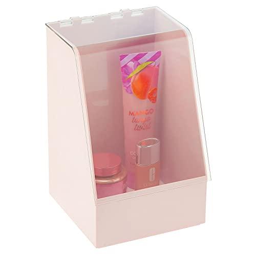 mDesign Caja organizadora con tapa – Vitrina pequeña de plástico para guardar cosméticos y productos de belleza – Organizador de maquillaje para laca de uñas, polvos, etc. – rosa claro/transpa