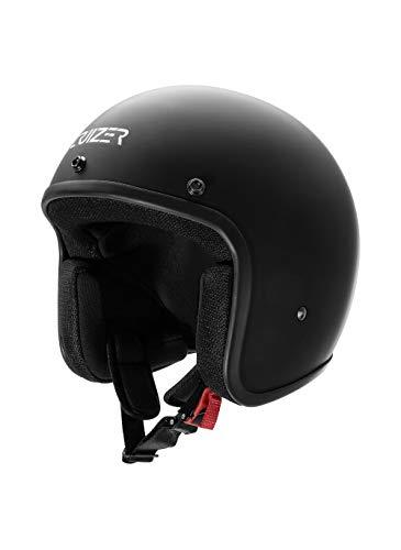 CRUIZER - Casco omologato per scooter moto Jet Nero Opaco senza visiera con calotta esterna in fibra, visierino parasole rimovibile, interni anallergici e traspiranti (M)