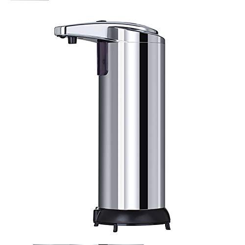 OURLITIME Dispensador de jabón automático de acero inoxidable, sensor infrarrojo, 250 ml, dispensador de jabón desinfectante, baño de cocina sin contacto
