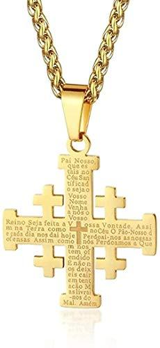 Collar Acero Inoxidable Jerusalén Cruz Collares Colgantes Para Mujeres Hombres Cadenas De La Santa Biblia Collares Joyería Religiosa Medieval Regalo Collar Colgante Regalo Para Mujeres Hombres Niñas N