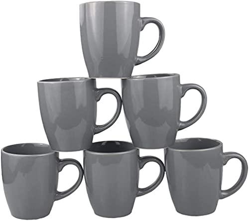 Coffee Cup Set 6-12oz Large Handle Ceramic Cup for Coffee, Soup, Tea, Milk, Latte, hot Cocoa, Ladies, Men-New Porcelain (Grey )Mug Set