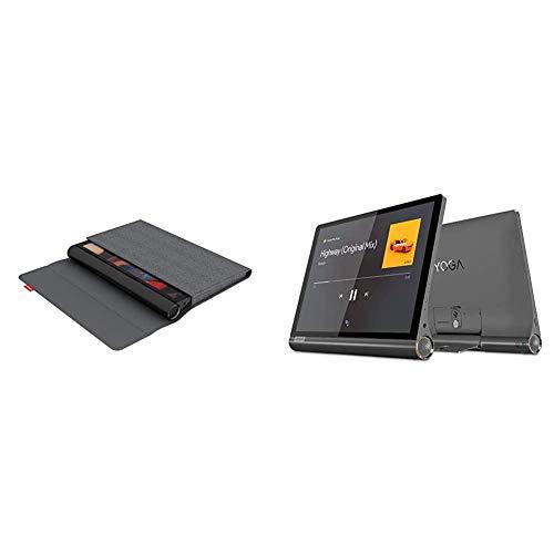 Lenovo Yoga Smart Tab Sleeve und Schutzfolie grau + Yoga Smart Tab 25,5 cm (10,1 Zoll, 1920x1200, FHD, IPS, Touch) Tablet-PC (Octa-Core, 3 GB RAM, 32 GB eMMC, Wi-Fi, LTE, Android 9) grau