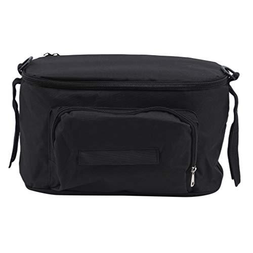 Ristiege - Bolsa organizadora para cochecito de bebé (tamaño grande, desmontable, con cremallera), Black (Negro) - Ristiege