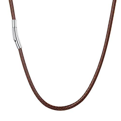 U7 Halskette braun geflochtene Wachsschurkette 3mm/41cm Kunstleder Kette mit Edelstahl Verschluss Damen Herren Trendige simpel Collier Geschenk für Jahrestag Party