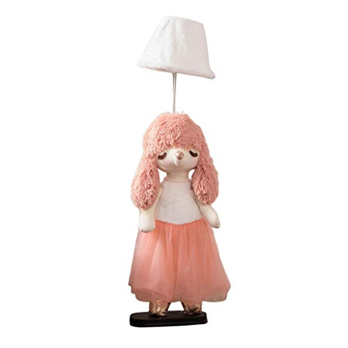 Kinderzimmer Prinzessin Mädchen Stehleuchte Cartoon Stoff Tischlampe Kreative Nette Tierform Dekorative Lampe LED Dimmable stehende Nachttischlampe (Color : Pink, Size : Dimmer Switch)