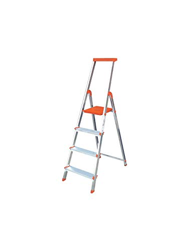 Escalera Rolser Aluminio BriColor 4 Peldaños - Mandarina