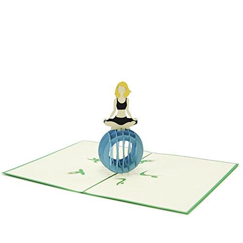 Favour Pop Up Grusskarte. Ein filigranes Kunstwerk, dass sich beim Öffnen als Frau beim Yoga entfaltet. TF094