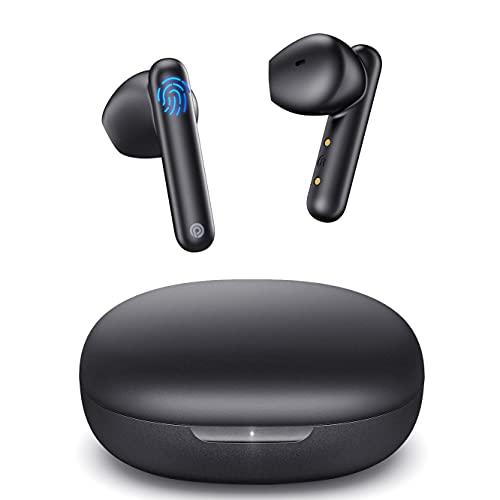 Cuffie Bluetooth, Auricolari Senza Fili, ENC Wireless in Ear con Microfono, Bassi Potenziati Sport Earbuds, Auricolare Stereo Controllo Touch Cuffiette con IPX7 Impermeabili Ricarica USB-C (Nero)