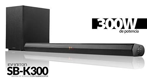 Barra DE Sonido INFINITON SB-K300 (2.1, Altavoz mas subwoofer, Bluetooth, Conexion Optica, USB, Cine en casa, Altavoz para TV) (300W)