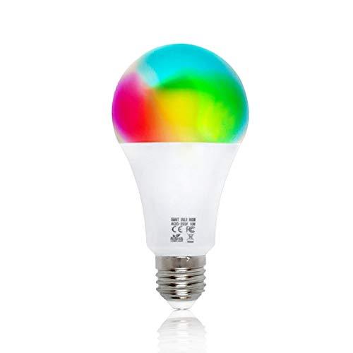 Bombilla Wifi Smart by EMC Italia | Multicolor + Blanco Cálido y Frío | Bombilla Inteligente a LED E27 | Funciona con Alexa/Echo y Google Assistant/Home para iOS/Android | Potencia 10 W | 800 LM