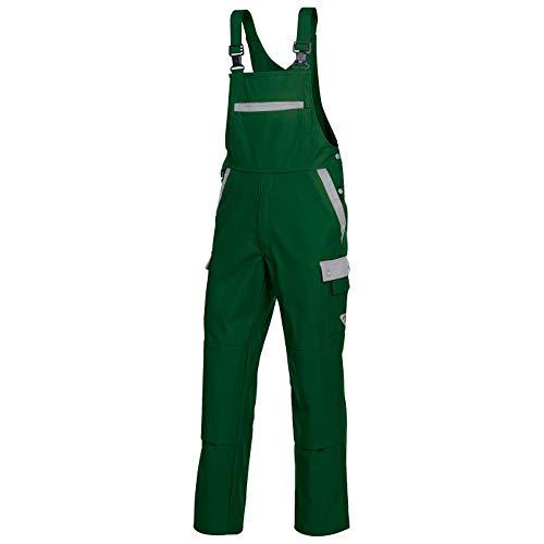 BP 1844-720-74-37/38 Verstärkte Baumwolle Streckbare Hosenträger und Taschen Latzhose für Männer, 65% Baumwolle/35% Polyester, Mittelgrün/Hellgrau, 37/38 Größe