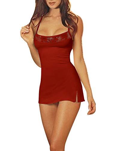 ZANZEA Damen Spitze Lingerie Babydolls Nachtwäsche Dessous Set mit G-String Nachthemd Kleid Rot EU 36/US 4