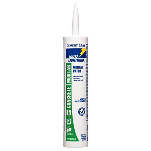 White Lightning W42004010 Mortar Patch Latex Caulk, 10 fl. oz, Cement Gray