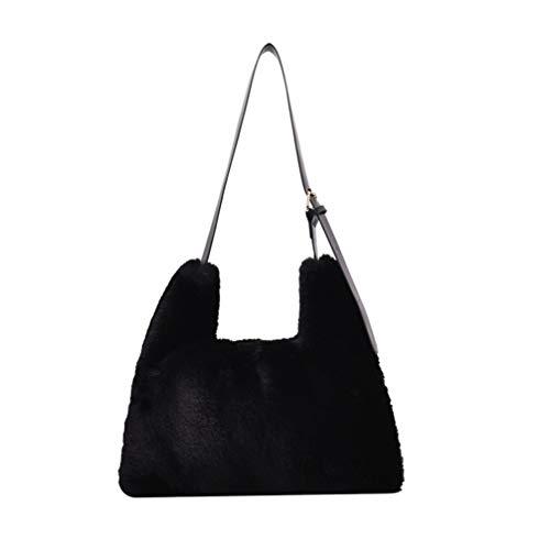 VALICLUD Schultertasche aus Kunstfell Tasche Flusentasche, Hobo Handtasche, flauschig, aus Fell für Frauen