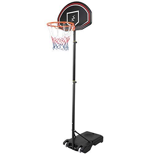YOLEO Basketballkorb für Kinder, 1,6 bis 2,1 Meter höhenverstellbar mit Ständer Korbanlage beweglich Outdoor bis 12 Jahre