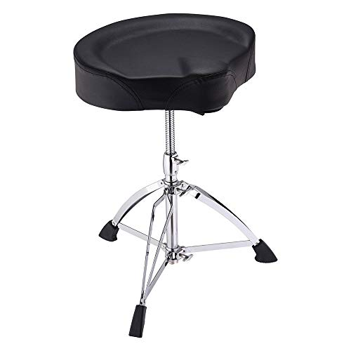 Adjustable Drum Throne Stool Swivel Seat Foldable Stand & Detachable 17 x15  Widened Seat Pad Anti-Slip Rubber Feet Motorcycle Style Drum Chair for Music Show US Delivery