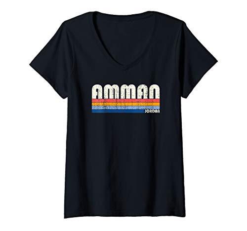 Womens Vintage 70s 80s Style Amman, Jordan V-Neck T-Shirt
