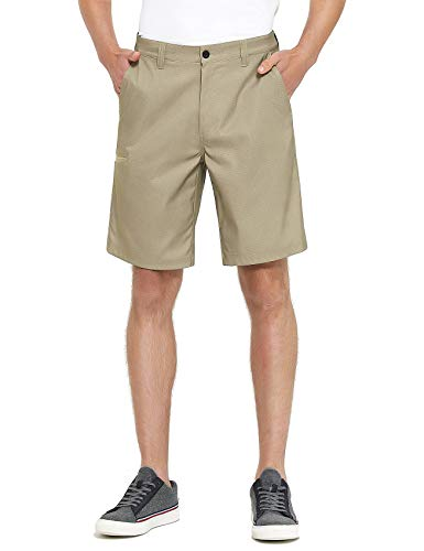 Men's Golf Hybrid Dress Shorts Stretch Dry Fit Lightweight Walk Hiking Board Tan 32