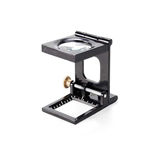 YUQIYU 10X Metal Vidrio con la Regla Plegable óptico de la Lente de Cristal de Vidrio for la Industria Textil e impresión