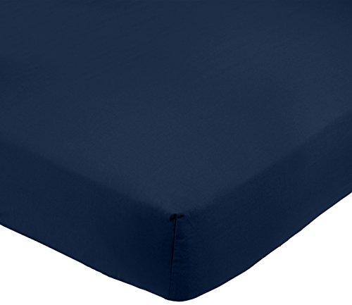 Amazon Basics FTD, Sábanas Ajustables, 135x190x30cm, Azul Marino
