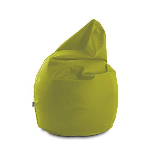 Avalon Pouf Poltrona Sacco Grande Bag L Mamba 95x95x125cm Made in Italy in Tessuto Ecopelle Imbottito Colore Verde Mela