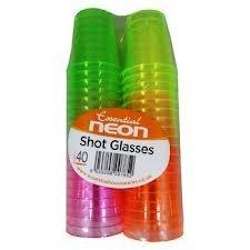 40 Colourful Neon Shot Glasses - Disposable.