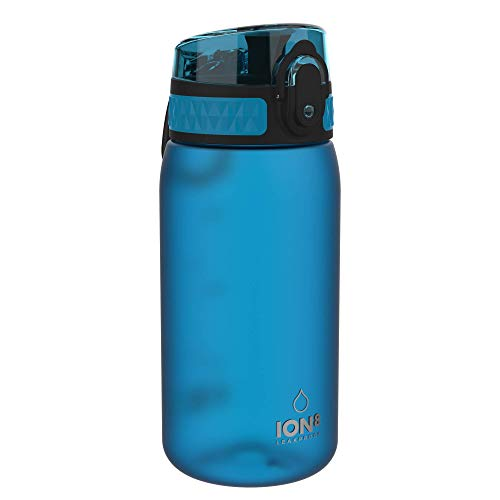 Ion8 Botella Agua Niños Sin Fugas, Sin BPA, Monos, Azul