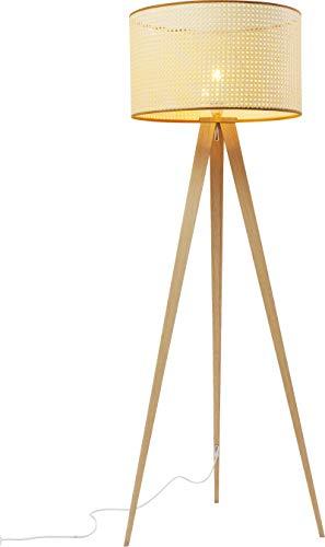 Kare Design Stehleuchte Tripot Nature, Stehlampe mit Dreifuß aus Holz, runder Lampenschirm, Skandinavischer Stil, Naturfarben (H/B/T) 154 50 50